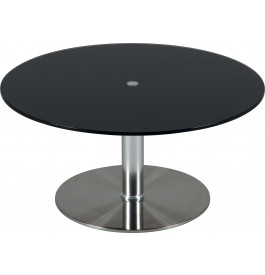 table basse ronde hauteur r glable verre noir table de salon salon. Black Bedroom Furniture Sets. Home Design Ideas