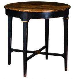 Table basse ronde noire piétement croisé