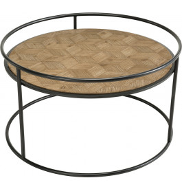 Table Basse Ronde Sapin Marquete Pieds Metal Helino