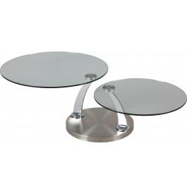 Table basse ronde verre plateaux pivotants