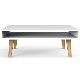 Table basse scandinave blanche double plateau for Table basse blanche scandinave