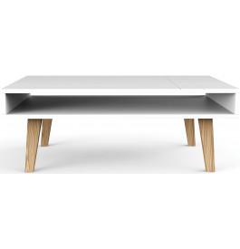 Table basse scandinave blanche double plateau