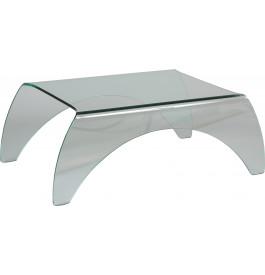 Table basse verre trempé rectangulaire courbée 4 pieds