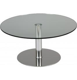 Table basse verre trempé ronde hauteur réglable