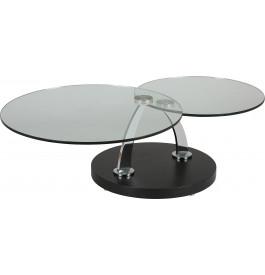 Table basse verre trempé ronde plateaux pivotants socle en chêne wengué