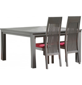 Table carré chêne massif gris L135 1 allonge