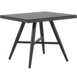 Table carrée aluminium gris plateau verre trempé L90