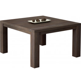 Table carrée chêne chocolat 1 allonge L130