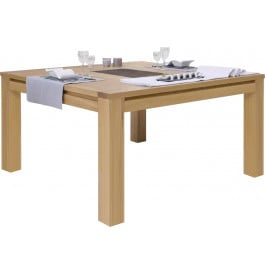 Table carr e ch ne naturel c ramique 1 allonge l130 for Table avec rallonge pas cher