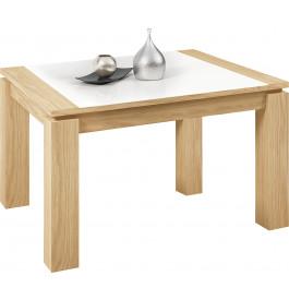 Table carrée chêne naturel plateau verre blanc 1 allonge L130