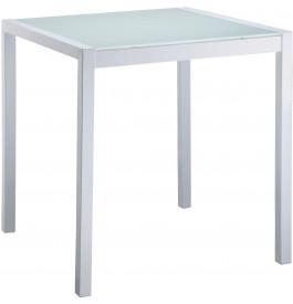Table carrée métal plateau verre L70