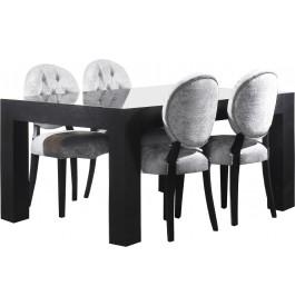 Table chêne massif rectangulaire plateau verre L160 noir