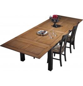 Table chêne rectangulaire L160 teintée noir et chêne