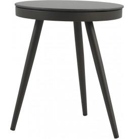 Table d'appoint ronde aluminium gris plateau verre trempé Ø45