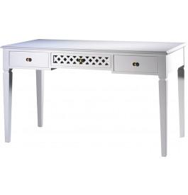 Table d'écriture hêtre laque blanc 3 tiroirs