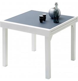 Table de jardin carrée extensible aluminium blanc et verre trempé gris L90