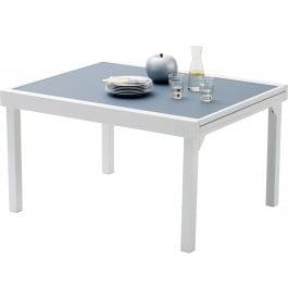 Table de jardin rectangulaire extensible aluminium blanc et verre trempé gris L135