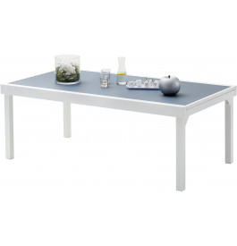 table de jardin rectangulaire extensible aluminium blanc et verre tremp gris l200. Black Bedroom Furniture Sets. Home Design Ideas