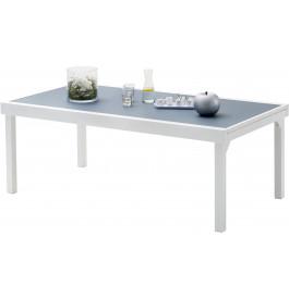Table de jardin rectangulaire extensible aluminium blanc et verre trempé gris L200