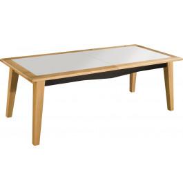 Table de repas L220 chêne massif clair plateau verre blanc dessous noir