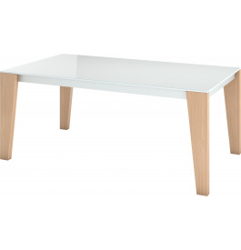 table de repas design ch ne naturel plateau laqu blanc l220 2 allonges. Black Bedroom Furniture Sets. Home Design Ideas