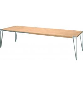 Table de repas design pieds métal plateau chêne naturel L180
