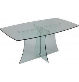 Table de séjour verre rectangulaire courbée L160