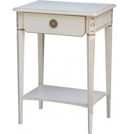Table de téléphone bouleau blanchi décors cannelures 1 tiroir