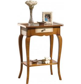 Table de téléphone merisier massif laque ivoire 1 tiroir pieds galbés