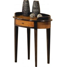 Table de téléphone merisier massif patiné noir 1 tiroir pieds fuseaux