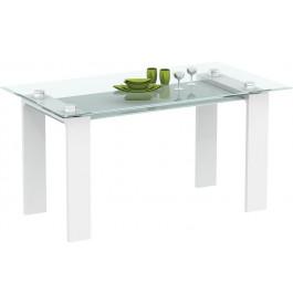 Table design laque blanche plateau verre