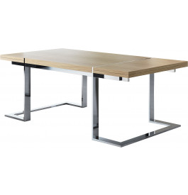 Table design rectangulaire chêne naturel pieds inox 2 allonges L200