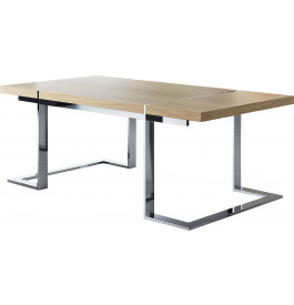 Table design rectangulaire chêne naturel pieds inox L200