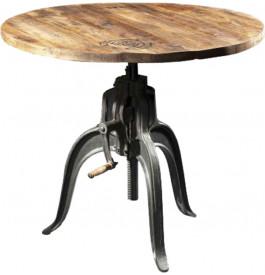 Table manivelle industrielle hauteur réglable acacia métal 75cm