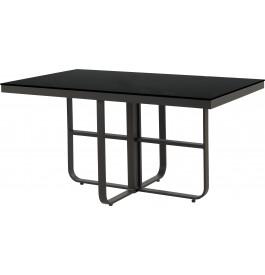 Table rectangulaire aluminium gris plateau verre trempé noir L150