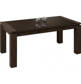 Table rectangulaire chêne chocolat plateau verre 1 allonge L160