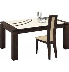 Table rectangulaire chêne chocolat plateau verre ivoire 1 allonge L160