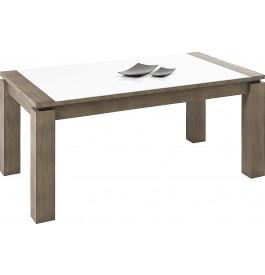 Table rectangulaire chêne gris plateau verre blanc 1 allonge L160