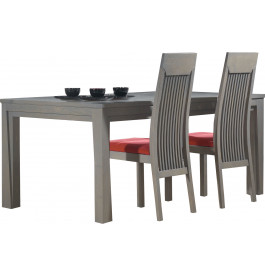 Table rectangulaire chêne massif gris plateau vitré L180
