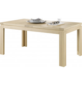 Table rectangulaire chêne massif naturel blanchi 2 allonges L160