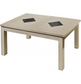 Table rectangulaire chêne massif taupe décors ardoise 2 allonges L160