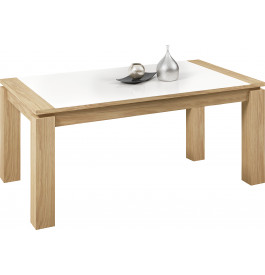 Table rectangulaire chêne naturel plateau verre blanc 1 allonge L160