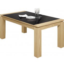 Table rectangulaire chêne naturel plateau verre noir 1 allonge L160