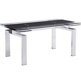 Table rectangulaire métal plateau verre noir 2 allonges L220