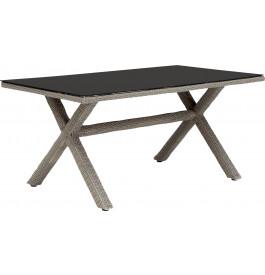 Table rectangulaire résine taupe et verre noir pieds croisés