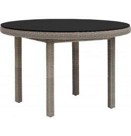 Table ronde Ø120 résine taupe et verre noir