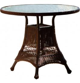 Table ronde aluminium et résine tressée noyer plateau verre trempé