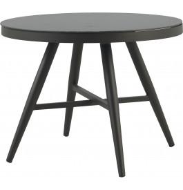 Table ronde aluminium gris plateau verre trempé Ø100