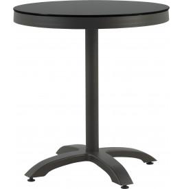 Table ronde aluminium gris plateau verre trempé Ø70