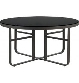 Table ronde aluminium gris plateau verre trempé noir Ø150